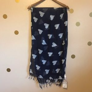 Sarong with heart designs. Swimsuit Coverup. Navy.